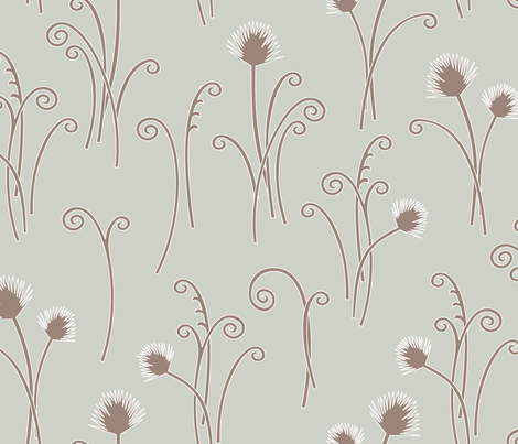 Soft Grey Fern fabric by kayajoy on Spoonflower - custom fabric