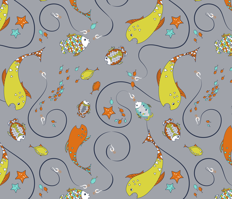 Fishing Chaos fabric by newmomdesigns on Spoonflower - custom fabric