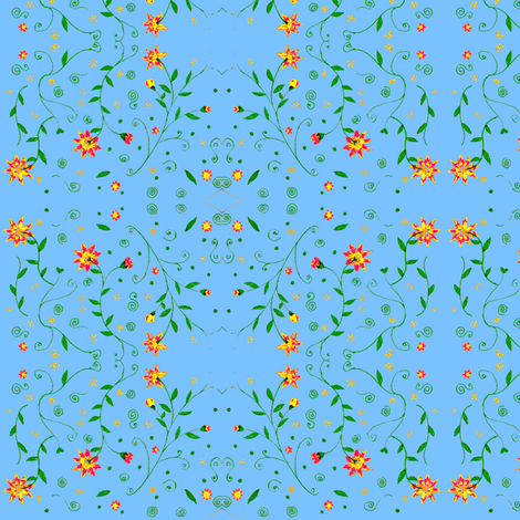 blue garden red flowers fabric by mimi&me on Spoonflower - custom fabric