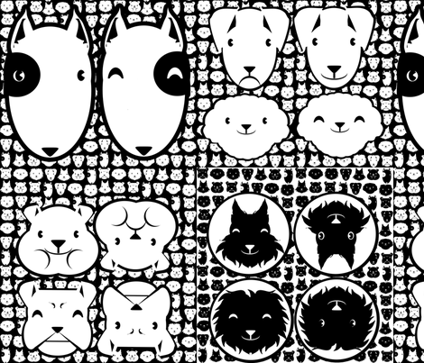 ALL HEAD DOG pillow 1yard fabric by kobaitchi on Spoonflower - custom fabric