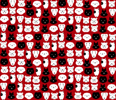 chiens en lignes fond rouge fabric by kobaitchi on Spoonflower - custom fabric