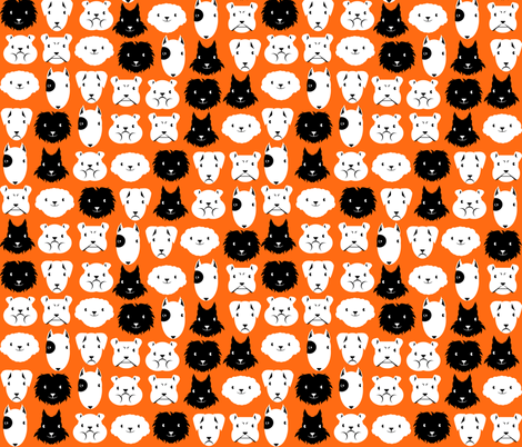 chiens en lignes fond orange fabric by kobaitchi on Spoonflower - custom fabric