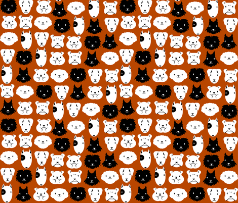 chiens en lignes fond brun fabric by kobaitchi on Spoonflower - custom fabric