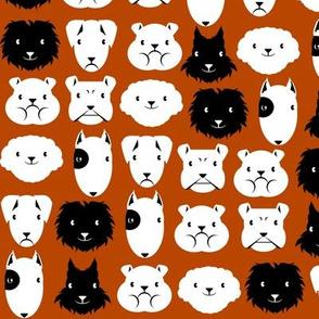 chiens en lignes fond brun