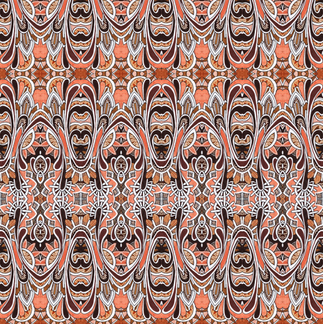 Peach and Chocolate Deco Rations  fabric by edsel2084 on Spoonflower - custom fabric