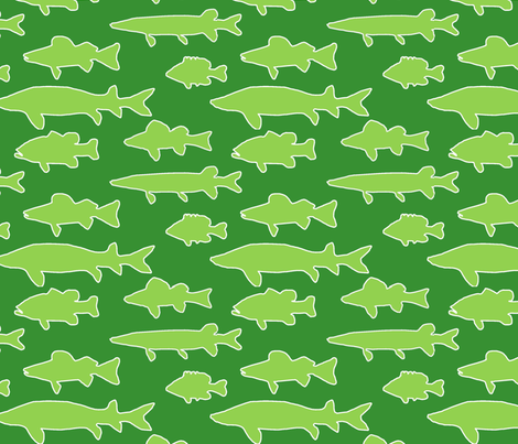 Michigan cottage lake fish fabric by slkanitz on Spoonflower - custom fabric