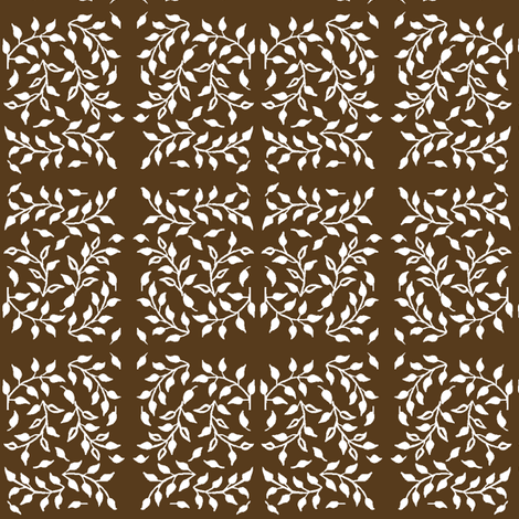 Leafy_field_white-WARMBROWN fabric by mina on Spoonflower - custom fabric