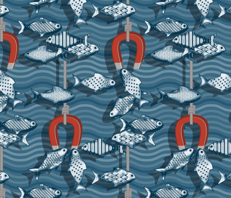 Magnetic fishing fabric by cjldesigns on Spoonflower - custom fabric