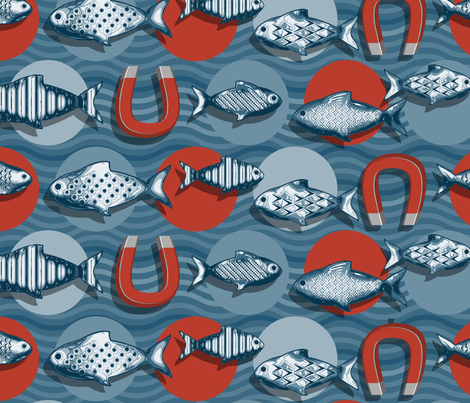 Magnetic fish spot fabric by cjldesigns on Spoonflower - custom fabric