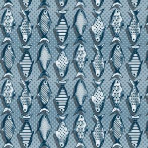 Metal fish blue