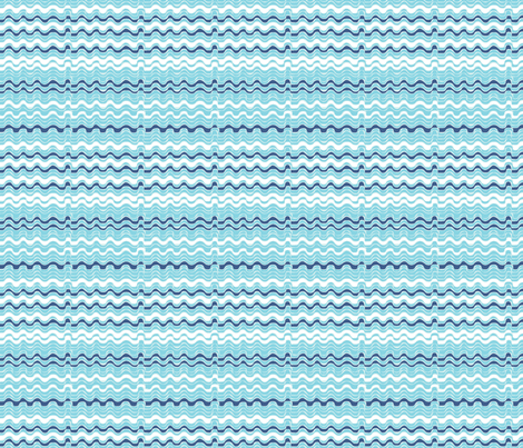 vagues_bleues_S fabric by nadja_petremand on Spoonflower - custom fabric