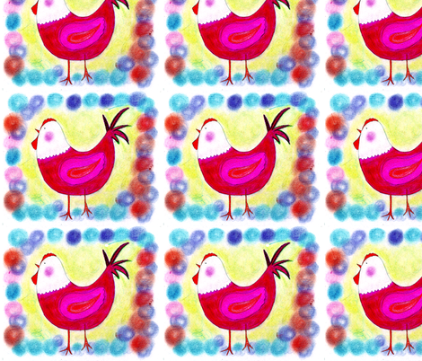 may chicken napkin fabric by mimi&me on Spoonflower - custom fabric