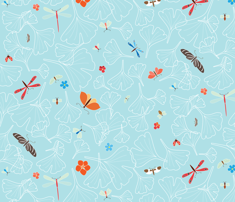 Ginkgo Bugs fabric by kayajoy on Spoonflower - custom fabric