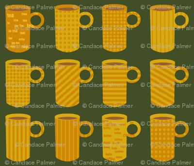 Orange and yellow tea and coffee mugs on green.