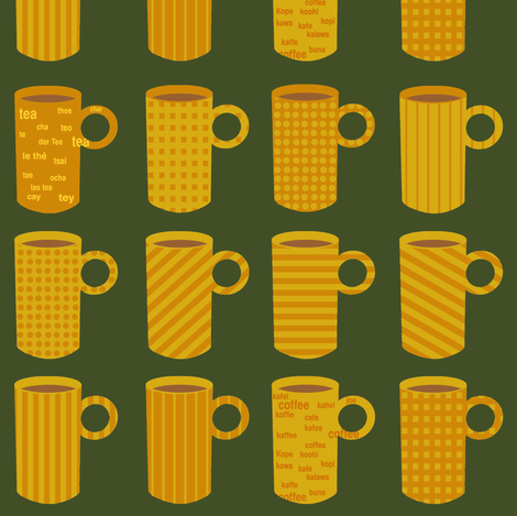 Orange and yellow tea and coffee mugs on green. fabric by graphicdoodles on Spoonflower - custom fabric