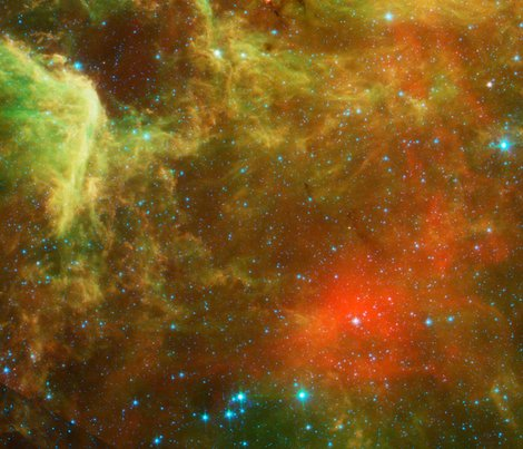 Green and orange nebula fabric corseceng spoonflower for Nebula material