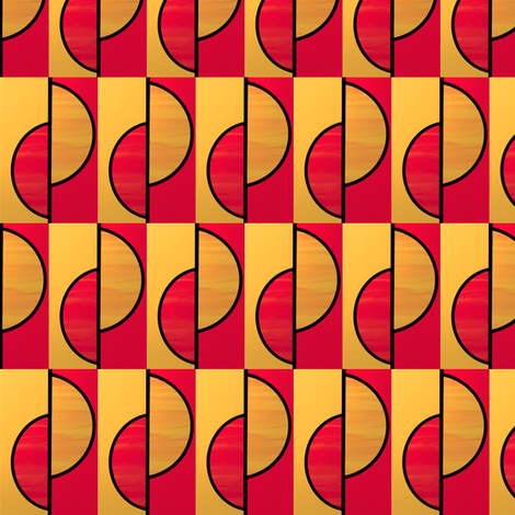 Red + gold half circles slipped by Su_G fabric by su_g on Spoonflower - custom fabric