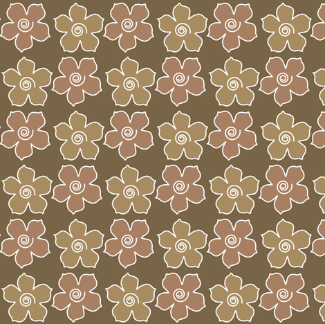 Metal_flower_field_mw-WARMBROWN-CHEVREUL fabric by mina on Spoonflower - custom fabric