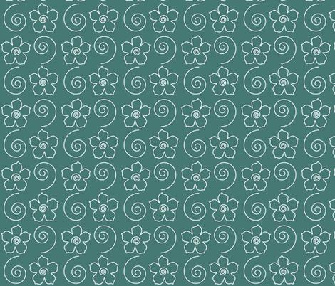 Spiral_flower_field_DK-BLUEGREEN fabric by mina on Spoonflower - custom fabric