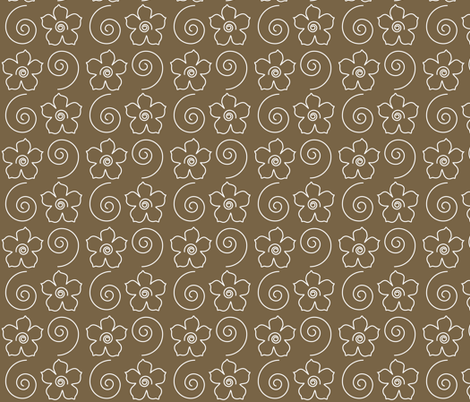 Spiral_flower_field_BROWN-35 fabric by mina on Spoonflower - custom fabric