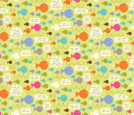 we don't want to be turned into fish fingers! fabric by amel24 on Spoonflower - custom fabric