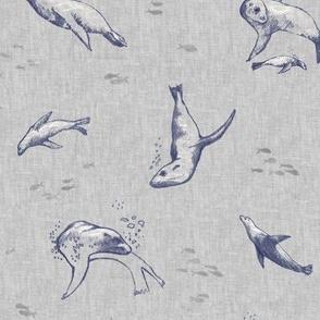 Sea Lion Ocean Fabric   Sea animals beach fabric, seal print fabric for beach wrap, coastal decor.