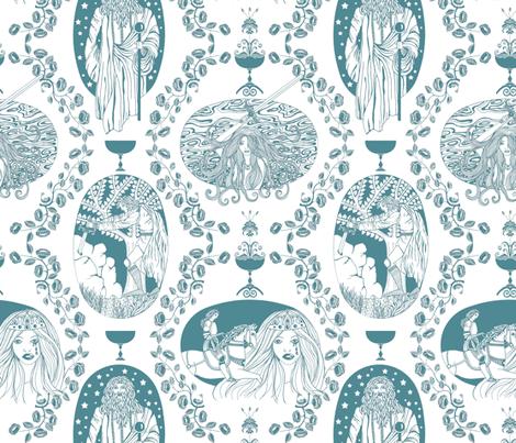Tales of King Arthur - blue fabric by uzumakijo on Spoonflower - custom fabric