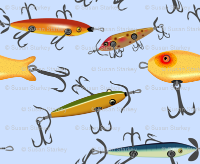 Antique fishing lures fabric creative8888 spoonflower for 3d printed fishing lures