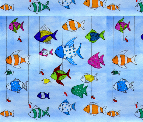 Fishing in the Tropics fabric by rosiebrown on Spoonflower - custom fabric