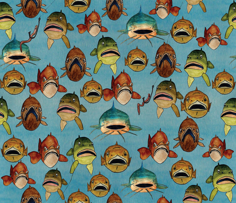 fishing with worms fabric by babysisterrae on Spoonflower - custom fabric