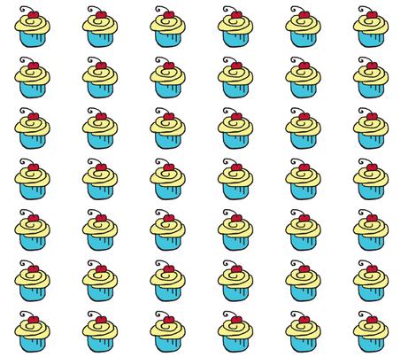 Yellow Blue Cupcake Cherry fabric by chirp! on Spoonflower - custom fabric