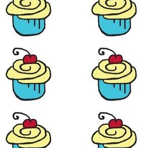 Yellow Blue Cupcake Cherry