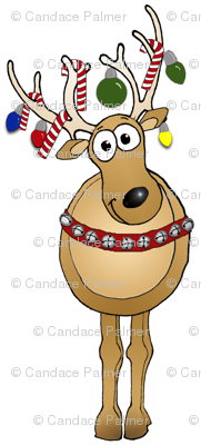 Christmas reindeer wearing decorations.