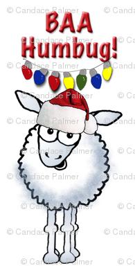 Christmas sheep wearing a Santa Hat.