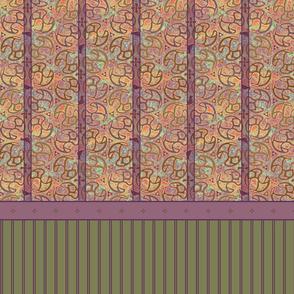 © 2011 Bird Motif Shower Curtain - Peach Berry
