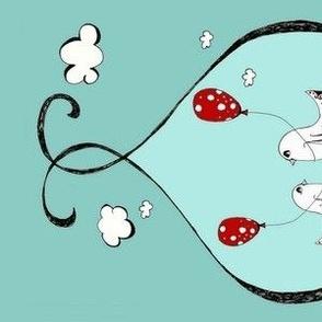 Birds and Balloons bumper fabric  or crib skirt fabric      (redmush7)