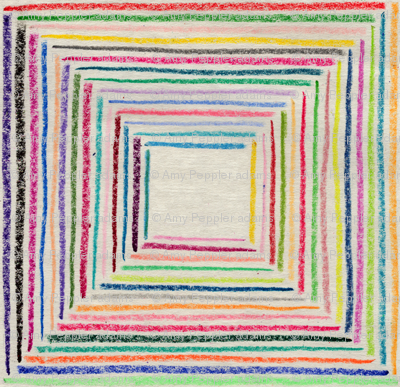 Crayoncentric Square || crayon crayons stripes geometric squares hand drawn optical illusion stripe