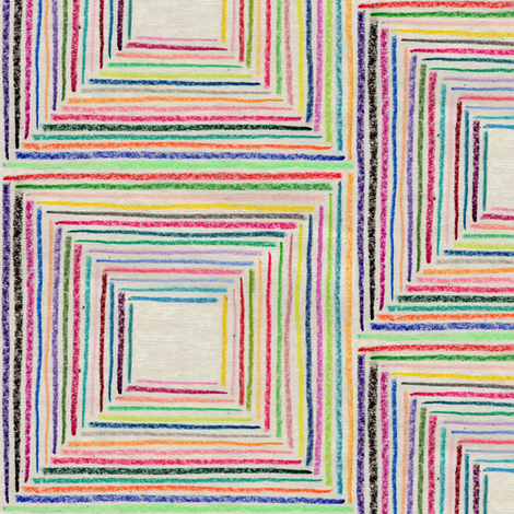 Crayoncentric Square || crayon crayons stripes geometric squares hand drawn optical illusion stripe fabric by pennycandy on Spoonflower - custom fabric