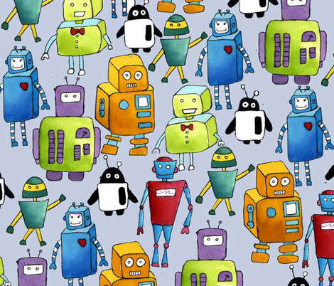 Final_Robots fabric by annie_wong on Spoonflower - custom fabric