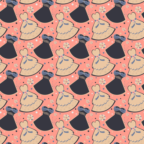 Peach & Black Dresses fabric by eppiepeppercorn on Spoonflower - custom fabric