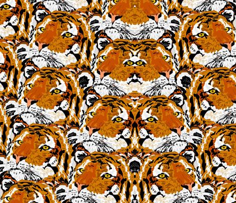 MIrrored Tiger Motif fabric by sewbiznes on Spoonflower - custom fabric