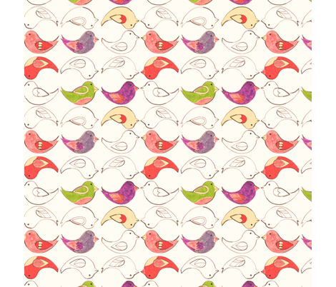 Crayon Birds [napkin] fabric by annadriel on Spoonflower - custom fabric