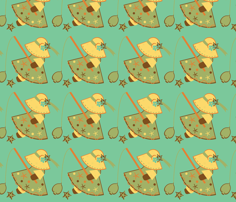 Green Fishies Sunbonnet Sue fabric by eppiepeppercorn on Spoonflower - custom fabric