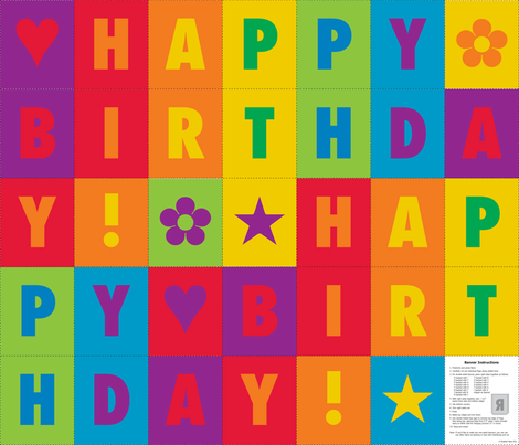 Happy Birthday! Rainbow Bunting fabric by lizarti on Spoonflower - custom fabric