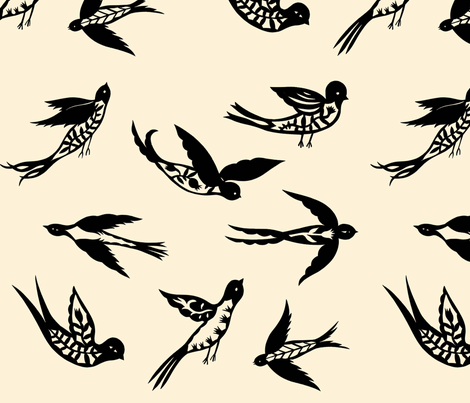 Bird Tatoos fabric by elsita on Spoonflower - custom fabric