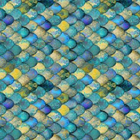Sophia: ROTATED SMALL Mermaid tails in turquoise + gold by Su_G fabric by su_g on Spoonflower - custom fabric