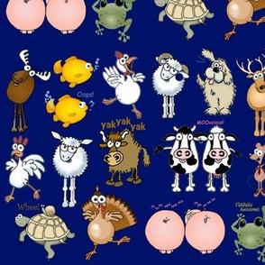 Cartoon animals on a blue background.