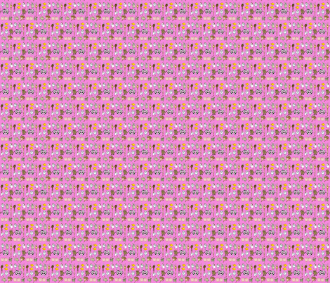 Cartoon animals on a pink background. fabric by graphicdoodles on Spoonflower - custom fabric