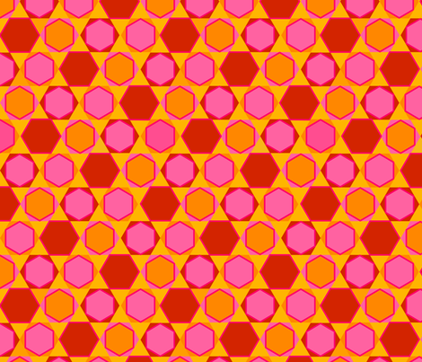 Hexagons (Warm Colours) fabric by nekineko on Spoonflower - custom fabric