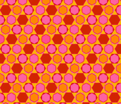 Hexagons (Warm Colours) fabric by nekineko on Spoonflower - custom fabric